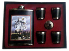 WILD ANIMALS FLASK SET W 4 SHOT GLASSES  (Sold by the piece)