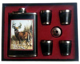 BIG BUCK DEER FLASK SET W 4 SHOT GLASSES  (Sold by the piece)