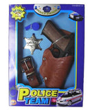DIECAST 45 PISTOL 8 SHOT GUN POLICE SET W HOISTER, SHERIFF BADGE SET ( sold by the piece ) CLOSEOUT NOW 7.50 EACH
