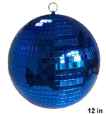 12 INCH BLUE COLOR MIRROR REFLECTION DISCO BALL (Sold by the piece) CLOSEOUT SALE 34.50 EA