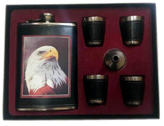 EAGLE HEAD FLASK SET W 4 SHOT GLASSES  (Sold by the piece)