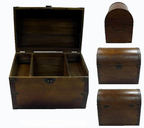 Lovely LARGE WOODEN TREASURE / PIRATE CHEST WITH SHELVES #001 ( sold by  UT71