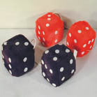 LARGE 3 INCH PLUSH FUZZY DICE ASSORTED COLORS (Sold by the dozen) *- CLOSEOUT NOW $1.50  EA