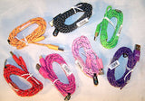 BRAIDED CLOTH PHONE CABLE CHARGING CORDS 6 FOOT ( sold by the piece ) CLOSEOUT AS LOW AS $ 1 EA