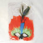 LARGE FEATHER MASK WITH PEACOCK FEATHER (Sold by the dozen)  -*CLOSEOUT $1 EA