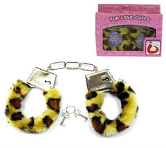 LEOPARD FUR LINED HANDCUFFS (Sold by the piece OR dozen ) -* CLOSEOUT $ 2 EA