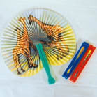 ANIMAL PRINT PAPER ORIENTAL FANS ( sold by the dozen ) -* CLOSEOUT NOW 10 CENTS EA