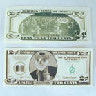 2 CENT WEASEL BILLS - FAKE MONEY  (Sold by the pad of 25 pieces ) NOW ONLY 25 CENT EACH PAD BY THE DZ