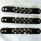 POT LEAF LEATHER DOUBLE ROW SPIKED BRACELET (Sold by the PIECE OR dozen)