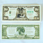 98 CENT KERRY BILLS FAKE MONEY (Sold by the pad of 25 bills ) NOW ONLY 25 CENTS PER PAD OF 25 PC