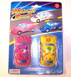 STICKY CAR W FLOWER PRINT WINDOW RACERS (Sold by the dozen) CLOSEOUT NOW ONLY 25 CENTS EA