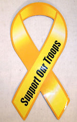 BOLD SUPPORT OUR TROPPS MAGNETIC YELLOW RIBBON (Sold by the dozen)