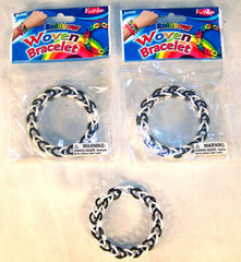 BLACK AND WHITE WOVEN LOOM BRACELETS  (Sold by the dozen ) -* CLOSEOUT NOW ONLY 25 CENTS EA
