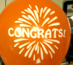 CONGRATS 11 INCH BALLOONS ASSORTED COLORS  (Sold by the gross 144 pieces) -* CLOSEOUT NOW ONLY $6 PER (144 PC )