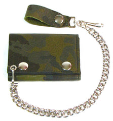 GREEN CAMO CAMOUFLAGE TRIFOLD LEATHER WALLETS WITH CHAIN (Sold by the piece)