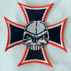 SKULL IRON CROSS 3 INCH PATCH (Sold by the piece OR dozen) CLOSEOUT AS LOW AS 75 CENTS EA