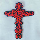 KNOTTED CROSS 4 INCH  PATCH (Sold by the piece or dozen ) -* CLOSEOUT AS LOW AS 75 CENTS EA