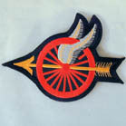 WHEEL WITH WINGS 4 INCH PATCH ( Sold by the piece or dozen ) *- CLOSEOUT AS LOW AS 75 CENTS EA