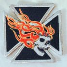 SIDE SKULL FLAMES 3 INCH PATCH (Sold by the piece or dozen ) * CLOSEOUT AS LOW AS 75 CENTS EA