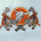 INDIAN COW SKULL 4 INCH PATCH (Sold by the piece or dozen ) -* CLOSEOUT AS LOW AS .75 CENTS EA