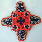 RED BLACK CROSS 4 INCH PATCH (Sold by the piece or dozen ) -* CLOSEOUT AS LOW AS .50 CENTS EA