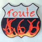 ROUTE 666 --/ 4 inch PATCH (Sold by the piece OR dozen ) -* CLOSEOUT AS LOW AS .75 CENTS EA