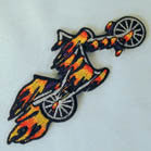 NEW BIKE WITH FLAMES 4 INCH  PATCH (Sold by the piece or dozen ) -* CLOSEOUT AS LOW AS .75 CENTS EA