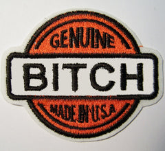 GENUINE BITCH 3 1/2 INCH EMBROIDERED PATCH (Sold by the piece)