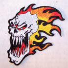SCARY SKULL FLAMES PATCH (Sold by the piece or dozen )  *-CLOSEOUT AS LOW AS 75 CENTS EA