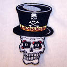 SKULL TOP HAT 4 INCH PATCH (Sold by the piece or dozen ) -* CLOSEOUT AS LOW AS 75 CENTS EA