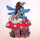 FAIRY ON SHROOMS 4 INCH PATCH (Sold by the piece or dozen ) -* CLOSEOUT AS LOW AS $1 EA