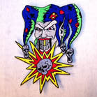 JESTER WITH SKULLS 4 INCH PATCH ( Sold by the piece or dozen ) *- CLOSEOUT AS LOW AS 75 CENTS EA