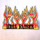 HELL RAISER FLAMES 4 INCH PATCH (Sold by the piece or dozen ) -* CLOSEOUT AS LOW AS 75 CENTS EA
