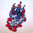 BIKE ENGINE SKULL 4 INCH PATCH (Sold by the piece) CLOSEOUT AS LOW AS .75 CENTS EA