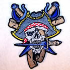 PIRATE BLUE 4 INCH PATCH (Sold by the piece or dozen ) CLOSEOUT AS LOW AS 75 CENTS EA