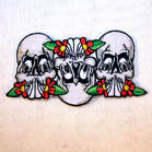 TRIPLE SKULL ROSES 4 IN PATCH (Sold by the piece) CLOSEOUT AS LOW AS .75 CENTS EA