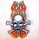 SKULL X BONE FLAMES 4 INCH PATCH (Sold by the pieceOR dozen ) CLOSEOUT AS LOW AS 75 CENTS EA