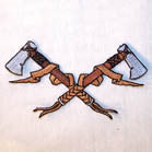 CROSSED HATCHES 3 INCH PATCH (Sold by the piece)  CLOSEOUT NOW AS LOW AS .75 CENTS EA