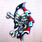 RIPPING AMERICAN FLAG SKULL PATCH (Sold by the piece OR Dozen ) CLOSEOUT AS LOW AS .75 CENTS EA