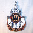 BAD MEDICINE EMBROIDERED 4 INCH  PATCH (Sold by the piece or dozen ) CLOSEOUT AS LOW AS 75 CENTS EA