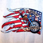 AMERICAN FOREVER BIKE 4 INCH PATCH ( Sold by the piece or dozen ) *- CLOSEOUT AS LOW AS 75 CENTS EA