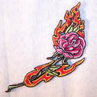 FLAMING ROSE 4 inch PATCH (Sold by the piece or dozen ) -* CLOSEOUT AS LOW AS 50 CENTS EA