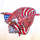 EAGLE IN FLAG 4 INCH PATCH (Sold by the piece or dozen) CLOSEOUT AS LOW AS 75 CENTS EA