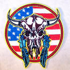AMERICAN COW SKULL 3 INCH PATCH (Sold by the piece OR dozen ) CLOSEOUT AS LOW AS 75 CENTS EA