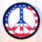 AMERICAN FLAG PEACE SIGN PATCH (Sold by the piece or dozen ) CLOSEOUT AS LOW AS 75 CENTS EA