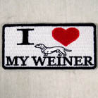 I LOVE MY WEINER DOG 4 INCH PATCH (Sold by the piece OR dozen ) CLOSEOUT AS LOW AS 75 CENTS EA