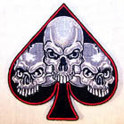 SPADE TRIPLE SKULLS 4 INCH PATCH  (Sold by the piece or dozen) - * CLOSEOUT NOW AS LOW AS 75 CENTS EA