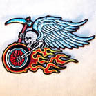 BIKER SKULL WITH WINGS 4 INCH PATCH (Sold by the piece OR dozen ) CLOSEOUT AS LOW AS .75 CENTS