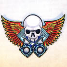 PISTON SKULL WITH WINGS 4 INCH PATCH ( Sold by the piece or dozen ) *- CLOSEOUT AS LOW AS 75 CENTS EA