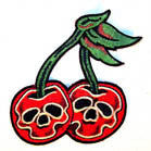 SKULL CHERRIES 3 1/2 INCH PATCH (Sold by the piece OR dozen) CLOSEOUT AS LOW AS .75 CENT EA